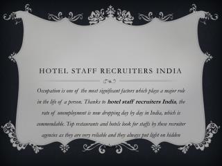 hotel staff recruiters India