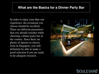 What are the basics for a dinner party bar
