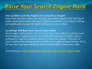 Raise Your Search Engine Rank
