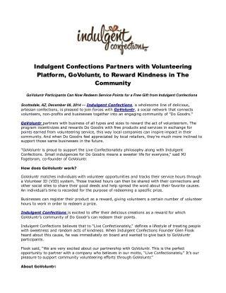 Indulgent Confections Partners with Volunteering Platform