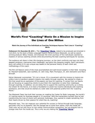 World�s First �Coaching� Movie On a Mission to Inspire the L