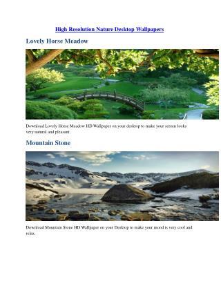 High Resolution Nature Desktop Wallpapers