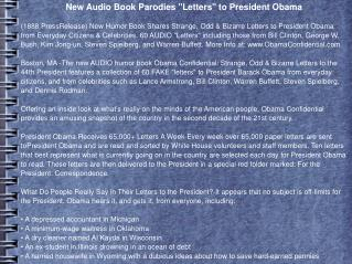 "New Audio Book Parodies ""Letters"" to President Obama"