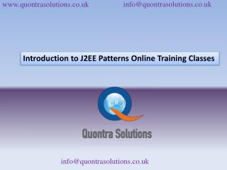 Introduction to J2EE Patterns Online Training Classes