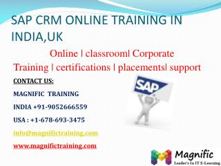 SAP CRM ONLINE TRAINING IN INDIA,UK