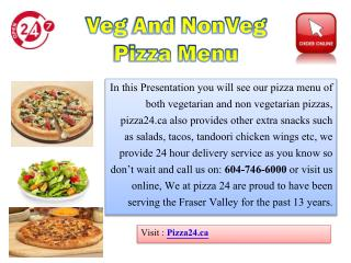 Veg And Non Veg Pizza Menu