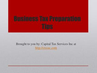 Business Tax Preparation Tips
