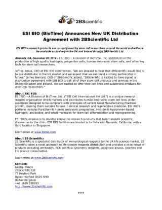 ESI BIO (BioTime) Announces New UK Distribution Agreement wi