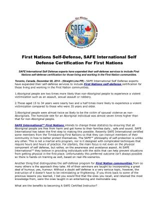 First Nations Self-Defense, SAFE International Self Defense