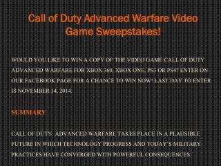 Call of Duty Advanced Warfare Video Game Sweepstakes!