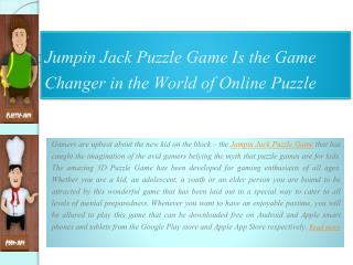 Jumpin Jack Puzzle Game is the Game Changer in the World of