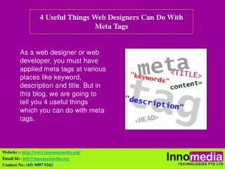 4 Useful Things Web Designers Can Do With Meta Tags