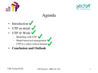 Introduction  UTP en detail UTP  Work Modelling with UTP Model-based test management UTP in a safety-critical domain Con