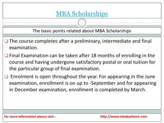 some bsic information about mba scholarships