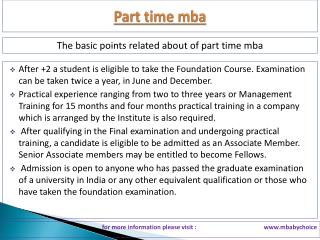The best point about part time mba
