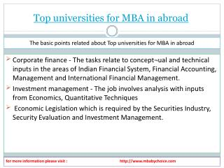 View about top universites for mba in abroad