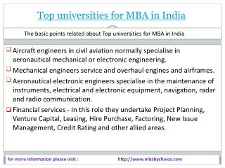 Some information about top universities for mba in india