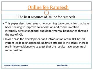 A best way to submitted online fee rameesh