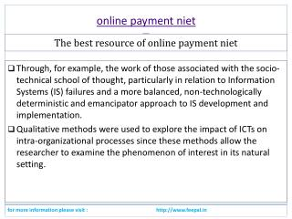 some logical facts about online payment niet