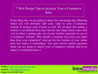 7 Web Design Tips to Increase Your e-Commerce Sales