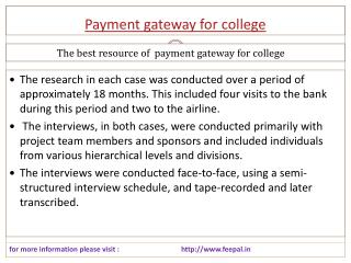 Basic categories of Internet payment gateway for college