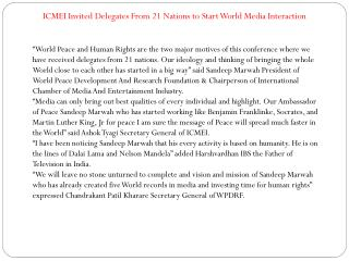 ICMEI Invited Delegates From 21 Nations to Start World Media