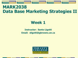 MARK2038  Data Base Marketing Strategies II