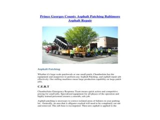 Prince Georges County Asphalt Patching