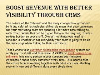 boost revenue with better visibilty through crms