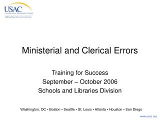 Ministerial and Clerical Errors