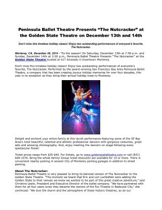 "Peninsula Ballet Theatre Presents ""The Nutcracker"""