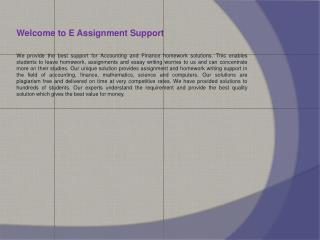 E Assignment Support