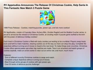 RV Appstudios Announces The Release Of Christmas Cookie