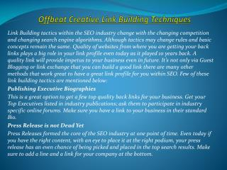 Offbeat Creative Link Building Techniques