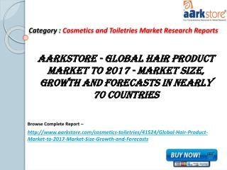 Aarkstore - Global Hair Product Market to 2017 - Market Size