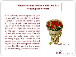 What are some romantic ideas for first wedding anniversary?