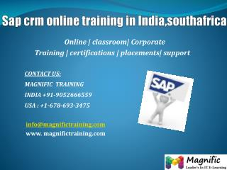 Sap crm online training in India,southafrica