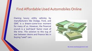 Find affordable used automobiles online