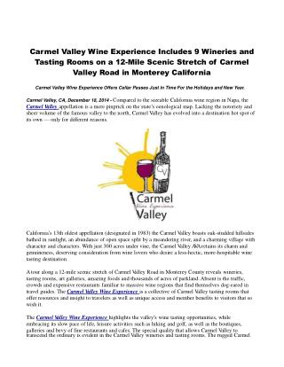 Carmel Valley Wine Experience Includes 9 Wineries