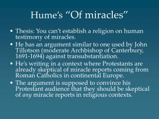 Hume s  Of miracles