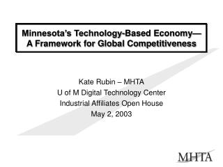 Minnesota s Technology-Based Economy  A Framework for Global Competitiveness