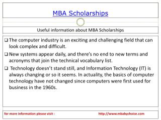Easlly find detaiil about mba scholarships