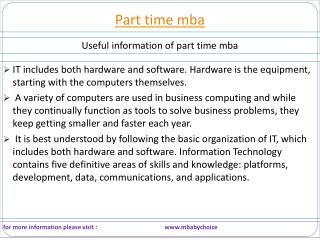 some logical facts about part time mba