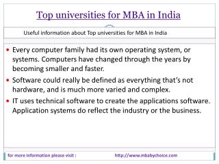 it is some legal points about top universities for mba in in