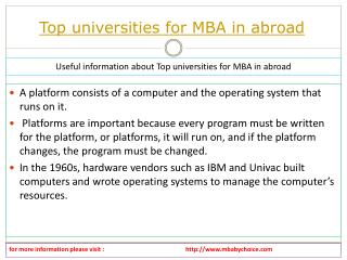 It is simple thinks about top universities for mba in abroad