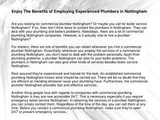 Enjoy The Benefits of Employing Experienced Plumbers in Nott