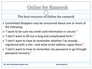 some logical facts about online fee rameesh