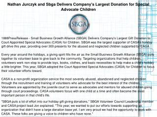 Nathan Jurczyk and Sbga Delivers Company's Largest Donation