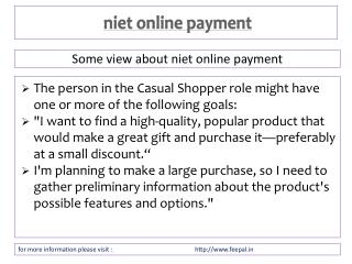 it is some legal points about niet online payment