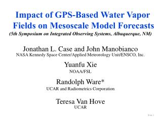 Impact of GPS-Based Water Vapor Fields on Mesoscale Model ...